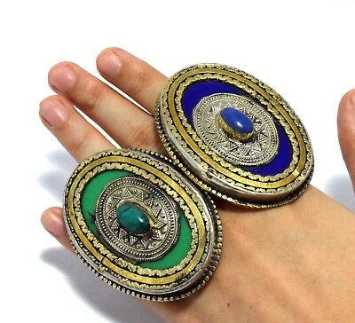Vintage Kuchi Afghan Tribal Ring Jewelry Hippie Antique Carved Ethnic Gypsy Boho