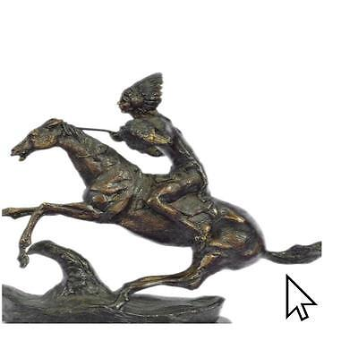 "Fredrick Remington-""Warrior"" Handcast / With Bronze Sculpture Statue Figurine"