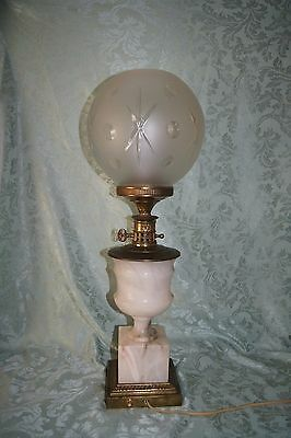 Large Heavy Victorian European Marble And Brass Lamp With Beautiful Glass Globe