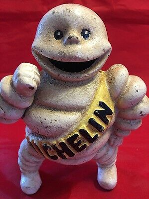 "Very Nice Vintage Cast Iron Michelin Man Bank 6"" Tall Very Nice Paint"