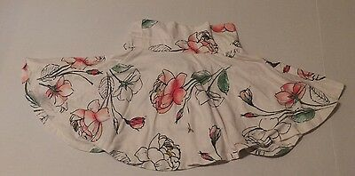 EUC Old Navy Toddler Girl's WHITE RED FLORAL ROSE Skirt 5T