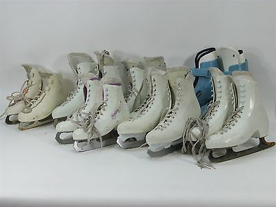 Lot Ot 7 Pairs Of Figure Skates Bauer Lange Assorted Sizes Ice Skating Skates