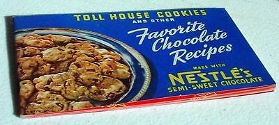 1941 Vtg Chocolate Cook Book Recipes Toll House Cookies Other Favorites Nestles