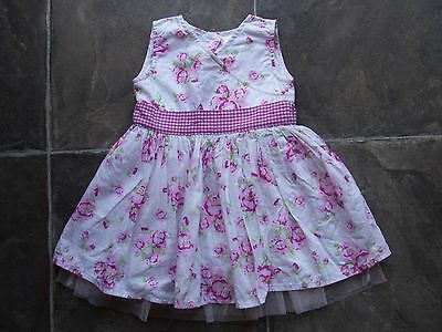 Baby Girl's White, Pink & Green Floral Summer Dress Size 00 VGUC