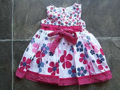 Baby Girl's Floral Cotton Sleeveless Summer Dress Size 00 VGUC