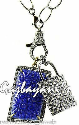 Masterly Crafted Fine Hand Carved Lapis Lazuli & Rose Cut Diamond Lock Necklace