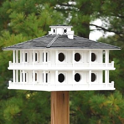 New Purple Martin Clubhouse Bird House Home Bazaar Wood White Bird Lovers