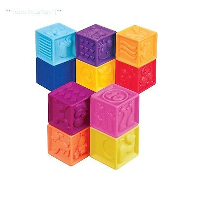 Baby Squeeze Blocks Infant Boy Girl Stacking Activity Toy Plastic Sensory New