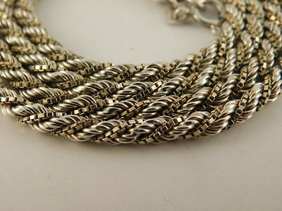 "Sterling Silver Double Twisted Chain Rope Necklace 31"" Long Italy Italian 925"