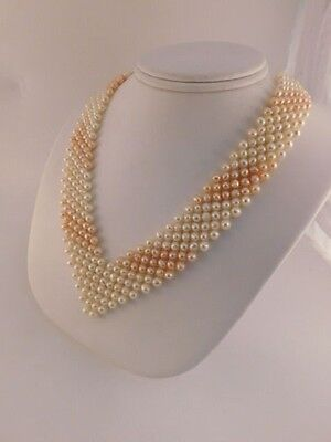 0407e02db Pink & Ivory Pearl Bib Collar Necklace Gold Gilded Sterling Silver Clasp