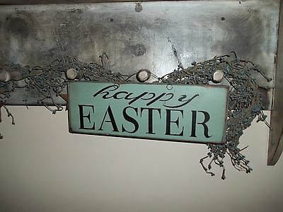 Wood Sign HAPPY EASTER Prim Country Rustic Home Decor Spring