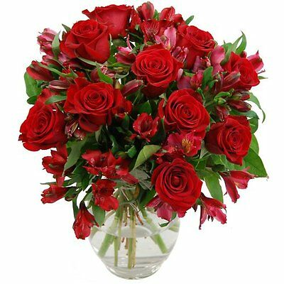 Clare Florist Red Rosmeria Fresh Flower Bouquet of Roses and Alstroemeria
