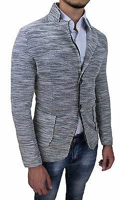Giacca Uomo Diamond Grigia Slim Fit Aderente 100% Made Italy Casual In Cotone