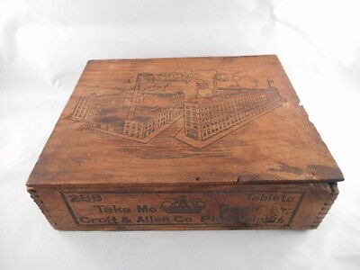 Early 1900s Croft & Allen Cocoa Candy Wooden Box Industrial Factory Advertising