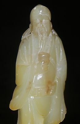Vintage Chinese Hand Carved Soapstone Emperor W/Base C-1950's