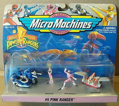 MicroMachines Power Rangers Pink Kimberly 1994 Galoob Play Set FREE Ship NMIP