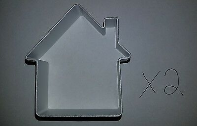 2 x House Shaped Aluminium Cookie Dough Cutter For Cooking (NEW  + AU Stock)