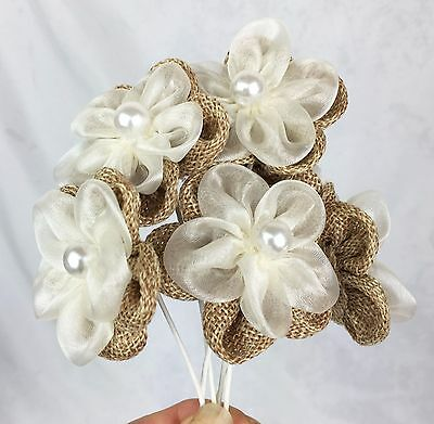 6 Burlap & Organza Flowers with Pearls. Cake Decorating, Weddings, Headbands