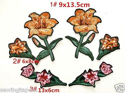 6pcs Lily Floral Flower Fashion Applique Embroidered Sew On Patch DIY Clothing