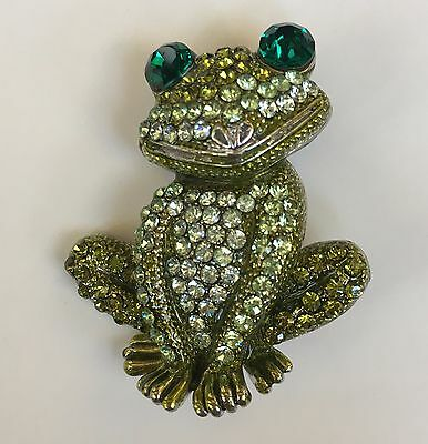 Frog Pin Swarovski Crystal Jeweled Happy Green Toad By Rucinni Brooch New