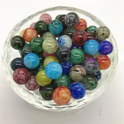 DIY 100 Pcs 4mm Round Pearl Loose Beads Double Colors Glass Jewelry Making #40