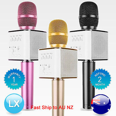 Q9 Mini Wireless Bluetooth Karaoke Microphone Speaker Handheld Mic USB Player AU