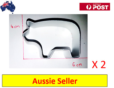 2 x Pig Shaped Aluminium Cookie Dough Cutter For Cooking (NEW  + AU Stock)