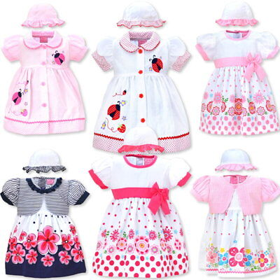 Babykleid Kinderkleid 3-teiliges Set mit Hut und Windelhose 3-18 Monate Gr 62-80