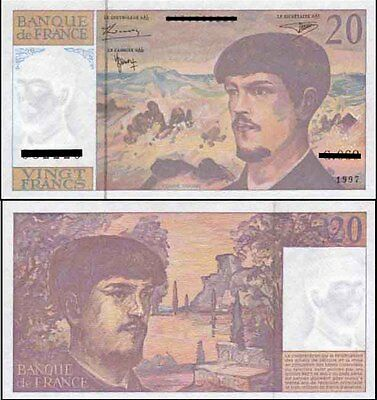 France Scarce Mint 20 Francs 1997 Last Paper Banknote variety Issue p151i