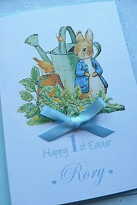 Handmade Personalised Rabbit  Easter Card Boy or Girl
