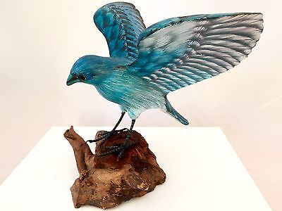 Vintage Old Wood And carved & Painted Blue Bird Spreading Wings Figurine
