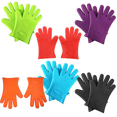 Kitchen Oven Glove Heat Resistant Silicone Pot Holder Baking BBQ Cook Mitts E8X2