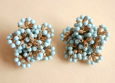 Vintage Turquoise Seed Bead Flower Gold Tone Clip On Earrings Gift Bag UK