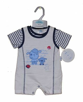 Baby Boys Seaside Puppy & Bear Romper & T.Shirt Set 0-3 Months Mini Chic