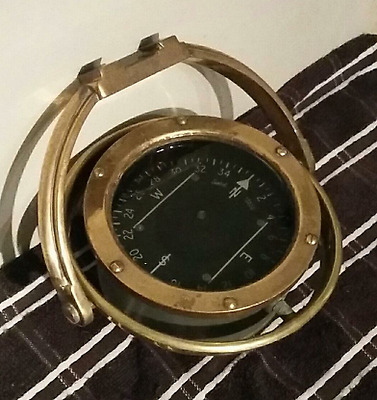 Authentic Brass Ships Compass. Looks Gorgeous. Excellent Cond.