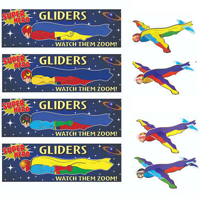 3,6,12 Super Hero Flying Gliders Kids/Boys Party Loot Bag Filler Fun Toy Planes