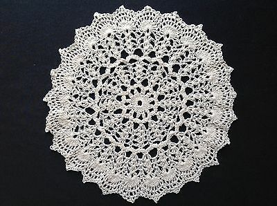 "Handmade 10"" 26cm white vintage doilie doily doiley crochet  lace  round"