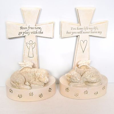 Pet Memorial Cat Dog with Angel Wings & Cross Ornament Figurine Remembrance