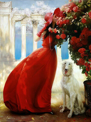 Oil painting nice girl wearing red dress hat Gloves and het dog Hand painted