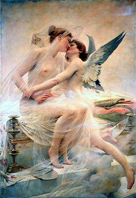 Oil painting Royer Lionel Noel Cupid and Psyche nude angels lovers no framed art