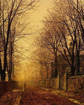 Oil painting John Atkinson - Autumn landscape In October sunset Hand painted