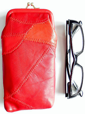 Large Thick Soft Patch Leather Spectacle glasses case in many colours