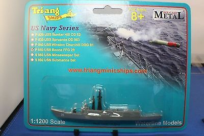 USS BOONE  OH Perry Class Frigate Carded Triang Minic Metal 1 to 1200 scale
