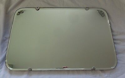 Vintage Art Deco 1930's bevelled edge heavy glass wall mirror, 51cm x 32cm