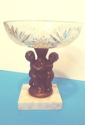 Antique Clear Cut Crystal Glass Brass Cherub Candy Dish Marble Base