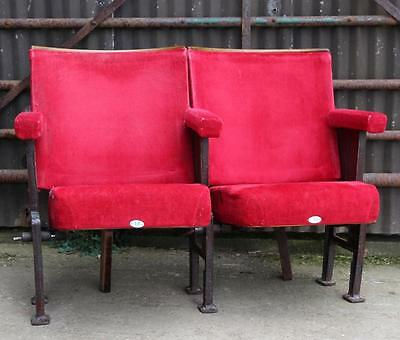 A Pair of Vintage Art Deco C1930s Red Velvet Cinema Seats