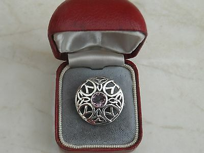 Gorgeous Little Marked Sterling Silver & Amethyst Celtic Knot Round Brooch 4.2g
