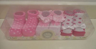 Little Me 3 Pair Infant Girls 0-12 Month Pink & White Bootie Set- NEW