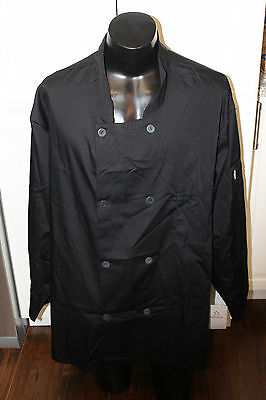 5 Star Long Sleeve Chef Coat Jacket Black NEW 4XL-5XL