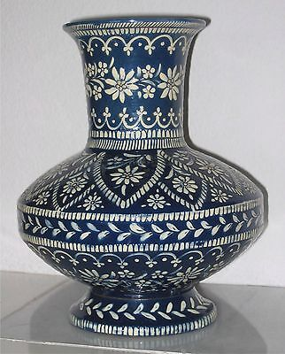 19th Century THUN, THOUNE Majolica blue vase with white Edelweiss